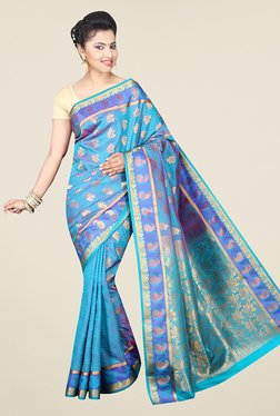 Pavecha's Blue Banarasi Cotton Silk Wedding Printed Saree