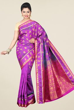 Pavecha's Purple Banarasi Cotton Silk Wedding Printed Saree