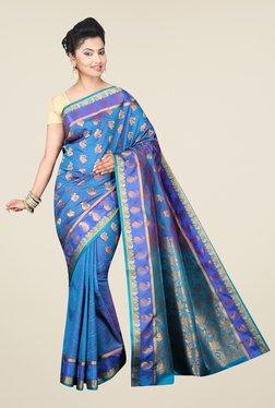 Pavecha's Blue Banarasi Cotton Silk Wedding Printed Saree