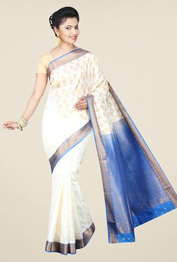 Pavecha's White Banarasi Cotton Silk Wedding Printed Saree