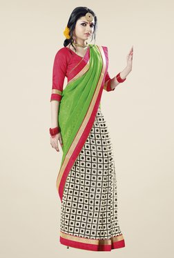 Touch Trends Green & Off White Printed Saree