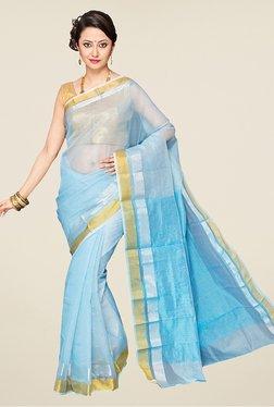 Pavecha's Light Blue Banarasi Cotton Silk Saree