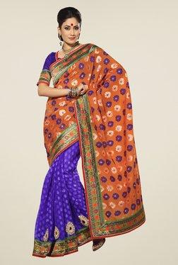 Touch Trends Orange & Blue Printed Saree