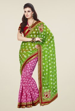 Touch Trends Green & Pink Printed Saree
