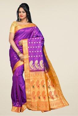 Pavecha's Purple & Orange Kanjivaram Silk Saree