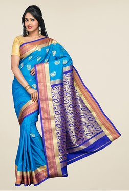 Pavecha's Blue Kanjivaram Silk Saree