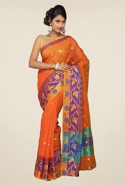 Pavecha's Orange & Purple Banarasi Cotton Silk Saree