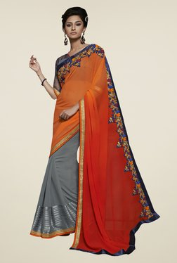 Touch Trends Orange & Grey Embroidered Saree