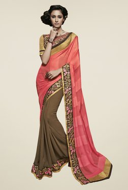 Touch Trends Peach & Brown Embroidered Saree