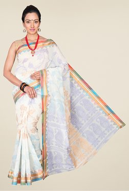 Pavecha's White Banarasi Cotton Silk Wear Saree