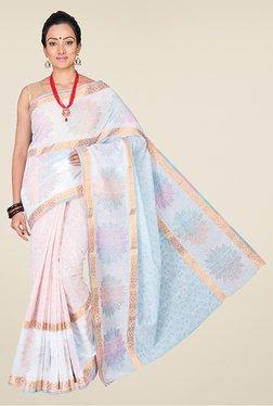 Pavecha's Light Pink & White Banarasi Cotton Silk Saree