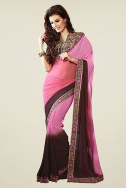Touch Trends Pink & Brown Solid Saree