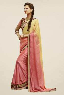 Touch Trends Peach & Yellow Embroidered Saree