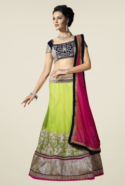Touch Trends Navy & Lime Embroidered Lehenga Set