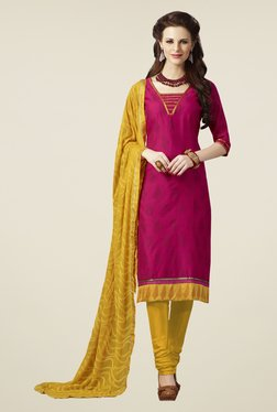 Touch Trends Magenta & Yellow Floral Print Dress Material