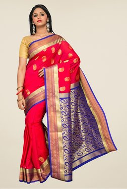 Pavecha's Red & Blue Kanjivaram Silk Saree