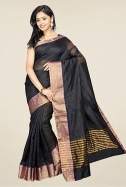 Pavecha's Black Banarasi Cotton Silk Party Saree