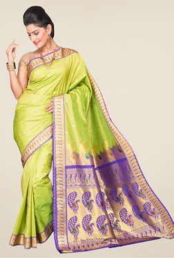 Pavecha's Lime & Blue Kanjivaram Silk Saree