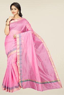 Pavecha's Pink Banarasi Cotton Silk Party Saree