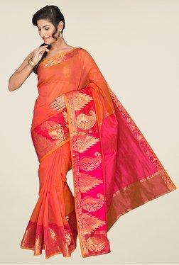 Pavecha's Orange Banarasi Cotton Silk Saree - Mp000000000567365