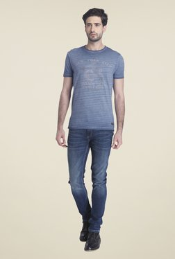 Jack & Jones Blue Crew Neck Cotton Printed T-shirt