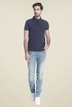Jack & Jones Navy Shirt Collar Printed T-shirt
