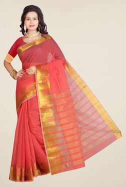 Ishin Peach Poly Cotton Solid Saree