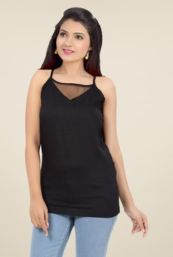 Ishin Black Solid Viscose Top