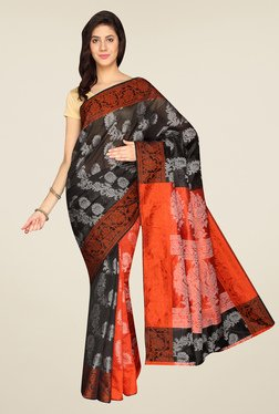 Pavecha's Black & Orange Banarasi Cotton Silk Saree