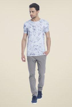 Jack & Jones Light Blue Round Neck Printed T-shirt