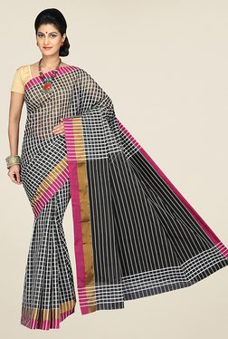 Pavecha's Black Banarasi Cotton Silk Checks Saree