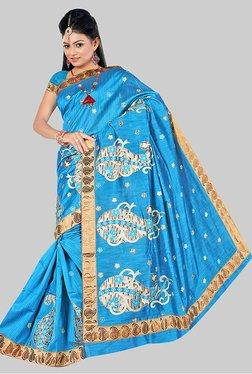 Pavecha's Blue Banarasi Cotton Silk Printed Saree
