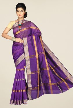 Pavecha's Purple Banarasi Cotton Silk Stripes Saree