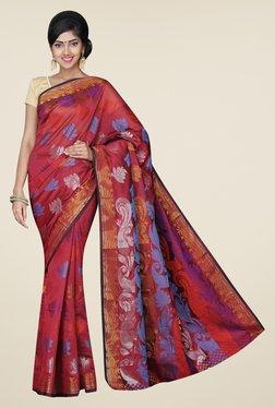 Pavecha's Maroon Banarasi Cotton Silk Printed Saree