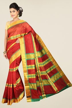 Pavecha's Red Banarasi Cotton Silk Stripes Saree