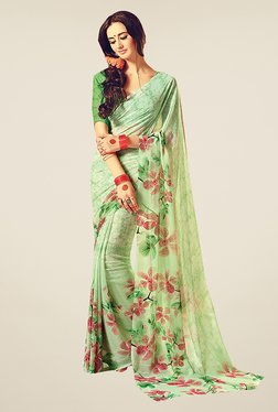 Ishin Green Faux Georgette Floral Print Saree