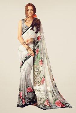 Ishin White & Grey Faux Georgette Floral Print Saree