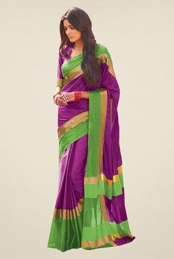 Ishin Purple & Green Poly Cotton Saree