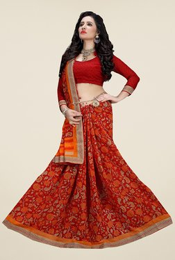 Ishin Red & Orange Cotton Silk Floral Print Saree