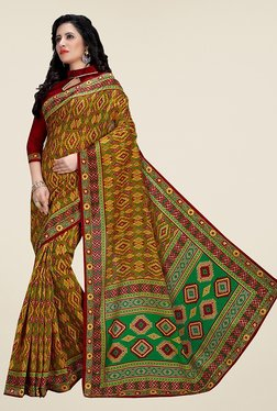 Ishin Green Cotton Silk Printed Saree