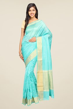 Pavecha's Aqua Banarasi Self Design Cotton Silk Saree