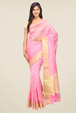 Pavecha's Pink Banarasi Self Design Cotton Silk Saree