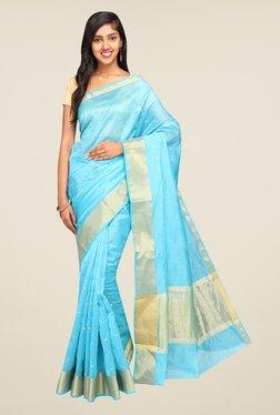Pavecha's Light Blue Banarasi Self Design Cotton Silk Saree