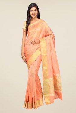 Pavecha's Peach Banarasi Self Design Cotton Silk Saree