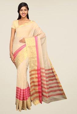 Pavecha's Beige & Pink Mangalagiri Cotton Saree