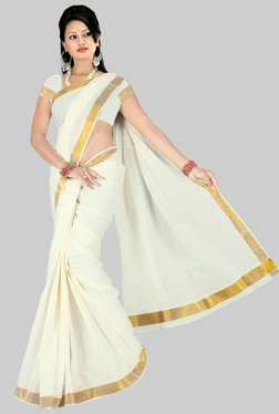Pavecha's White Kerala Cotton Saree