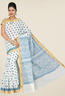 Pavecha's White & Blue Mangalagiri Cotton Saree