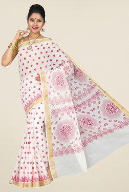 Pavecha's White & Pink Mangalagiri Cotton Saree