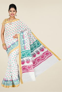 Pavecha's White Mangalagiri Cotton Saree