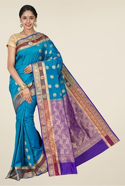 Pavecha's Blue Kanjivaram Art Silk Saree